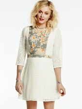 FEARNE COTTON CREAM LACE DRESS WITH PRINTED BIB AND WAISTBAND SIZE UK 16 NEW