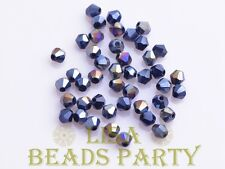 Hot 100pcs 4mm Bicone Faceted Crystal Glass Loose Spacer Beads Bulk Black AB