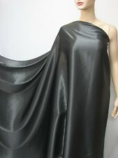 3 Yards Charcoal Grey Pure Silk Satin Charmeuse Fabric