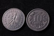 Poland Polish 10 Grosz 2005 Republic Coin zł Eagle gr Groszy