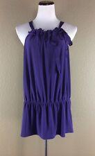 Tahari Woman Blouse Top Size 1X Purple Lace Detail Sleeveless Drop Waist NWT $98