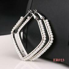 1 PairAA 925 Silver Plating Pearl Square Lady Fashion Studs Hoop Earrings