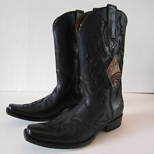 Men's Cuatrero Cowboy Western Black Leather Boots US 9.5 EUR 43 Punk Rock NEW