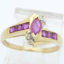 ESTATE RUBY RED DIAMOND RING SOLID 10K GOLD MARQUISE CUT FINE SIZE 6 (GP2002246)