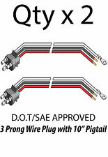 3 Prong Pigtail Wire Plug for Truck Trailer Stop Turn Tail Lights - Qty 2