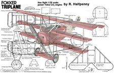 "Model Airplane Full Size PRINTED PLANS Scale 1/20 Co2  13"" W/S FOKKER TRIPLANE"