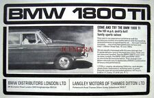 Vintage 1965 BMW '1800 TI' Car Advert #1 - Auto Photo Print Ad