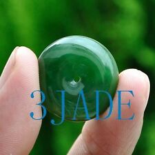 Natural Green Nephrite Jade Donut / Bead / Disc Pendant / Necklace