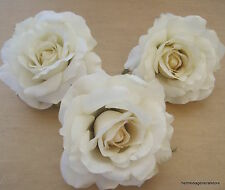 "Three Piece Lot Large 4 1/2"" Cream White Rose Silk Flower Hair Clips,Bridal,Prom"