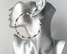 Gorgeous large sexy 8cm SILVER tone oversized CHUNKY TWISTED hoop earrings *NEW*
