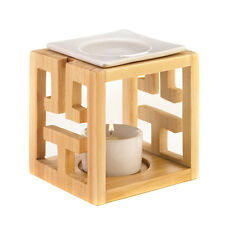 Sleek Basin Oil Warmer Bright Wood with Ceramic Accents For Tealight Decor New