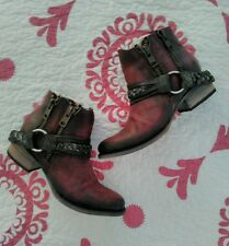 NIB! FREEBIRD BY STEVEN 'CLASH' LEATHER ANKLE BOOT WINE WOMENS 7M!