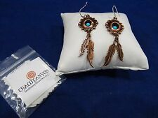 CHACO CANYON SOUTHWEST Copper Wire Earrings w/Feathers