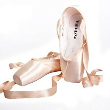 Satin Ballet Dance Shoes for Women, Adult Point Dancing Shoes, Pink Color w band