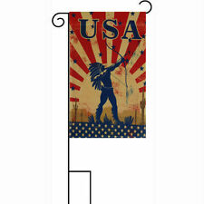 """12x18 12""""x18"""" USA Native American Indian Sleeved w/ Garden Stand Flag"""