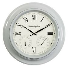 18 INCH EXTRA LARGE GIANT SIZE ROUND GREY FRAME HOTEL SCHOOL OFFICE WALL CLOCK