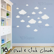 Cloud Wall Art in White, Boys/Girls Bedroom Nursery Childrens Kids Sticker decal