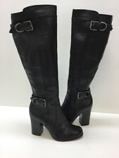 Frye Parker Ring Tall  Buckle Pull On Knee High Heels Boot Black Leather Size 6M