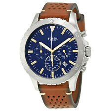 Fossil Crewmaster Blue Dial Mens Chronograph Watch CH3077