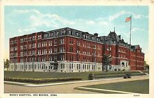 Des Moines Iowa~Mercy Hospital Corner Street View~Car in Front~1920s Postcard