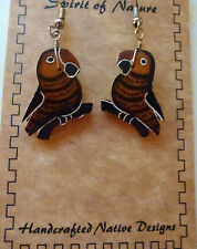 Earring Spirit of Nature gourd parrot bird shaped browns unique and adorable