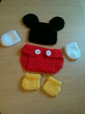 Crochet baby mickey mouse chapeau et nappy cover chaussons mitaines set photo props