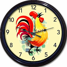 Colorful Rooster Wall Clock Kitchen Tuscany Country French Farm New! 10""