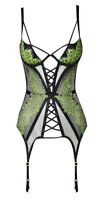 AGENT PROVOCATEUR ELECTRA BASQUE GREEN/BLACK BNWT SIZE 34B RRP £305