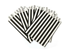 Black Stripe Paper Bags Large - Sweets Gift Bag Wedding Party Cake Shop x 10