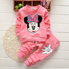 Baby Girls Minnie Crewneck Hoodie Tops +Pants 2PCs Outfits Set Sportswear 0-3Y