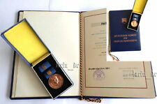 East german DDR GDR FDJ - Medal +Document  with the Spain fighters Artur Becker