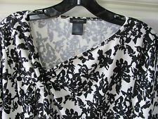 Ann Taylor V-Neck Twisted Knot Sweater Top-Black/Cream Floral- Large -NWT $60