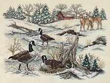 VTG Finished Cross Stitch Canadian Geese Goose Winter Farm Country Deer Snow Art