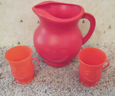 Vintage 1980's Red Plastic Kool Aid Pitcher With Cups