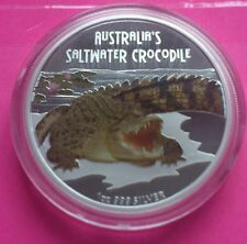 2009 TUVALU SALTWATER CROCODILE  SILVER PROOF AUSTRALIAN VERSION COIN RARE COIN