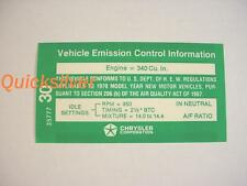 1970 AAR T/A 340 6bbl Automatic Transmission Emissions Decal NEW