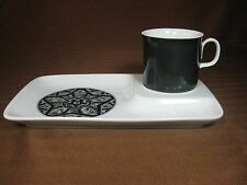Sango Aquarius Pattern Snack Plate and Cup White with Black from Japan