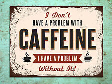 Retro shabby chic style Caffeine kitchen tin metal sign wall door plaque cafe