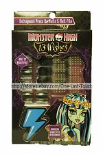 MONSTER HIGH 13 Wishes Set VOLTAGEOUS Press On Nails+File+Stickers BLACK Girls
