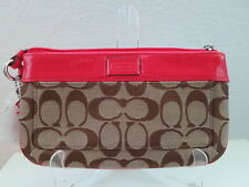 NWT COACH HW SIGNATURE LARGE WRISTLET 47430 KHAKI/WATERMELON
