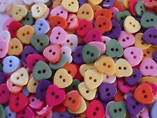 40 x HEART SHAPE  2 HOLE RESIN 11MM  SEWING BUTTONS, SCRAPBOOKING, CRAFT ETC.,