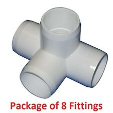 "1-1/4"" Furniture Grade 4-Way Side Outlet Tee PVC Fitting - 8 Pack"