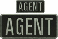 AGENT embroidery patches  4x10  and 2x5 hook on back grey thread