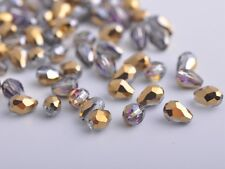 100pcs 3mm Teardrop Faceted Crystal Glass Finding Loose Beads Gold Half Rose Red