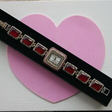"Beautiful 925 Silver Wrist Watch With Ruby And WhiteTopaz 32 Gr 9"" Inch Long"