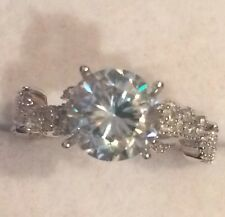 Filigree  ~ 1.90CT Ice Blue  Moissanite Solitaire 10k Solid White Gold Ring