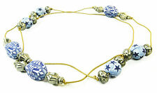 Gorgeous ink blue engraved wooden & chrome beads/brown strand necklace(ZX1/204)