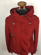 Free People Women's Red Wool Double Breasted Button Hoodie Large