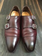 Kiton Brown-Burgundy Leather Double Monk Shoes Size 42,5 UK-8,5, US-9,5
