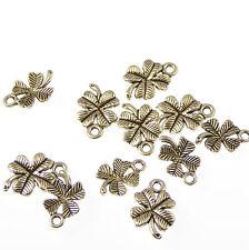 Wholesale x 10 Four leaf clover charms 1.5cm pendants Patrick's day